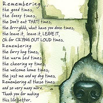 Loss Of Pet >> Loss Of A Pet Dog Condolence Sympathy Card Remembering The Good Times