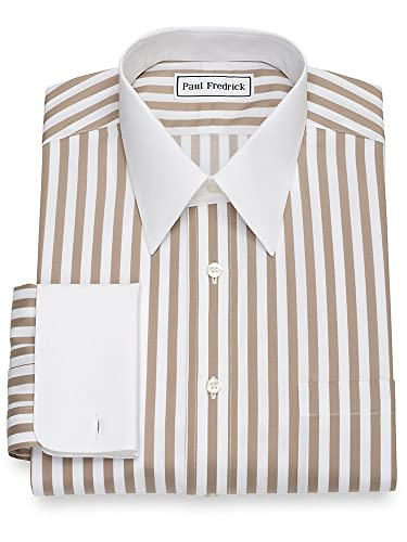 1920s Style Mens Shirts | Peaky Blinders Shirts and Collars Paul Fredrick Mens Non-Iron Cotton Satin Stripe French Cuff Dress Shirt $74.50 AT vintagedancer.com