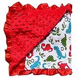 So Sydney Reversible Soft Textured Minky Dot Baby Infant Toddler Blanket with Satin Trim (Dinosaur Danger)