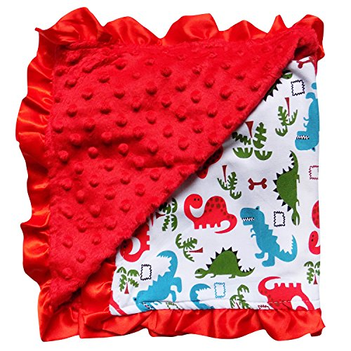 So Sydney Reversible Soft Textured Minky Dot Baby Infant Toddler Blanket with Satin Trim (Dinosaur Danger) by So Sydney