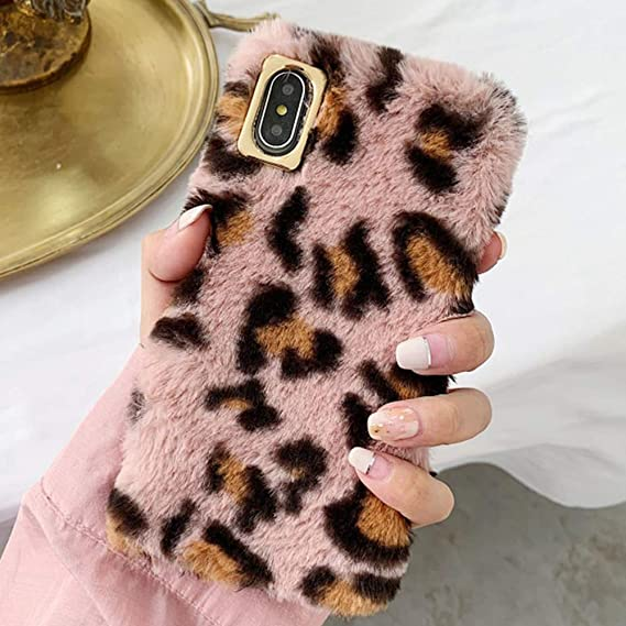 the best attitude 475b5 ce239 Plush Cover for iPhone 6 Case iPhone 6S Case LAPOPNUT Luxury Fluffy Leopard  Pattern Faux Fur Case Soft Furry Shockproof Winter Warm Fuzzy Protective ...