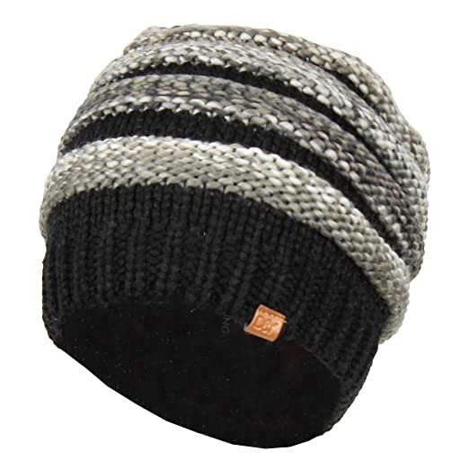 a8b3899501c David   Young Black Striped Marled Ribbed Knit Beanie Hat