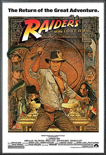 POSTER STOP ONLINE Indiana Jones - Raiders of The Lost Ark - Framed Movie Poster/Print (1982 Re-Release - Hat & Whip) (Size: 27