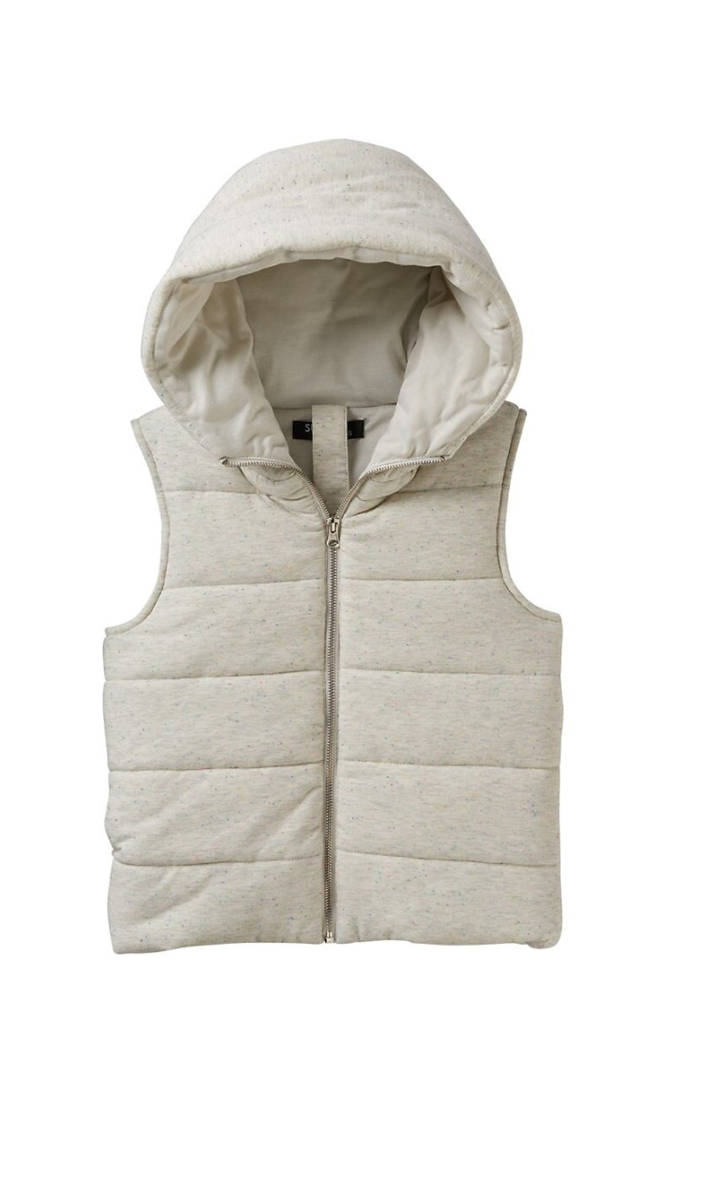 Sugar Rush Girls Speckled Hooded Puffer Vest (Large, Oatmeal Nep) by Sugar Rush (Image #1)