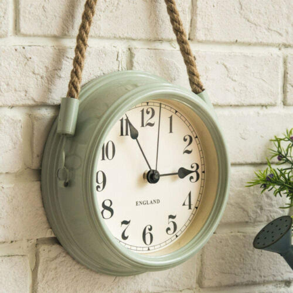 FortuneVin Reloj de Pared Modernos Elegante RelojReloj de Pared Minimalista Moderno nórdico Sala de Estar Cuerda de Metal Relojes de Cuarzo Colgantes 8 Pulgadas Verde Claro
