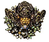 Carpe Diem Hardware 27502751-3-80 In the Garden Bee Knob with Swarovski Crystals, Antique Brass