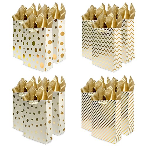 Foil Bags Gift - UNIQOOO 12Pcs Premium Assorted Gold Metallic Foil Gift Bags Large,12.5''x10.5''x4 inch, w/12 Sheets Gold Tissue Paper 20''x26'' Each,Gift Wrapping Set for Wedding, Birthday Party, Valentine's Day Gift