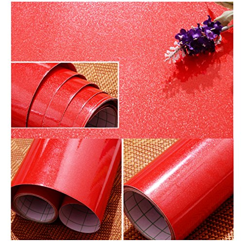 (Oxdigi Red Self-Adhesive Film Contact Paper Decorative for Countertops Cabinets Waterproof Removable Wallpaper Peel and Stick 24
