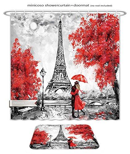 Minicoso Bath Two Piece Suit: Shower Curtains and Bath Rugs Oil Painting Paris European City Landscape France Wallpaper Eiffel Tower Black White And Red Shower Curtain and Doormat - Macys White Plains