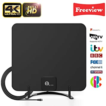 1byone Freeview TV Aerial with Stand - HDTV Antenna with Excellent  Performance for Digital Freeview and Analog TV Signals, Indoor Digital TV