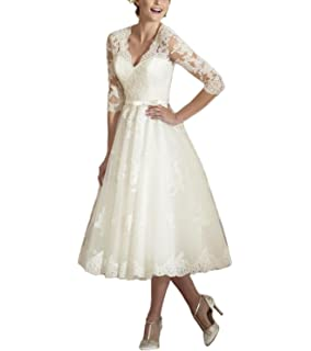 c85d9f8c955 Dreagel Elegant Mid Calf Wedding Dresses Half Sleeve Vintage Bridal ...