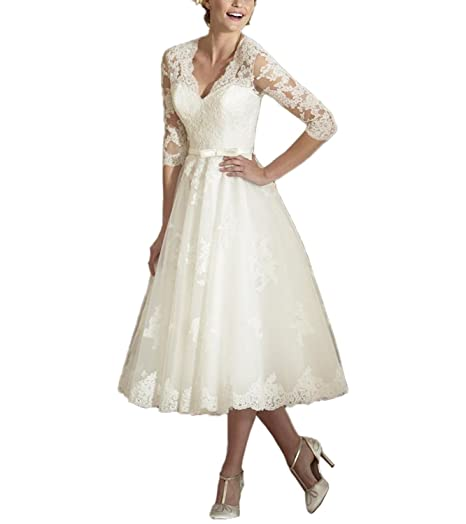 Abaowedding Women S V Neck Long Sleeves Tea Length Short Wedding