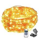 LED String Lights , PopBabies Dorm Lights 33ft 100 Led Lights with RF Remote for Bedroom Patio...