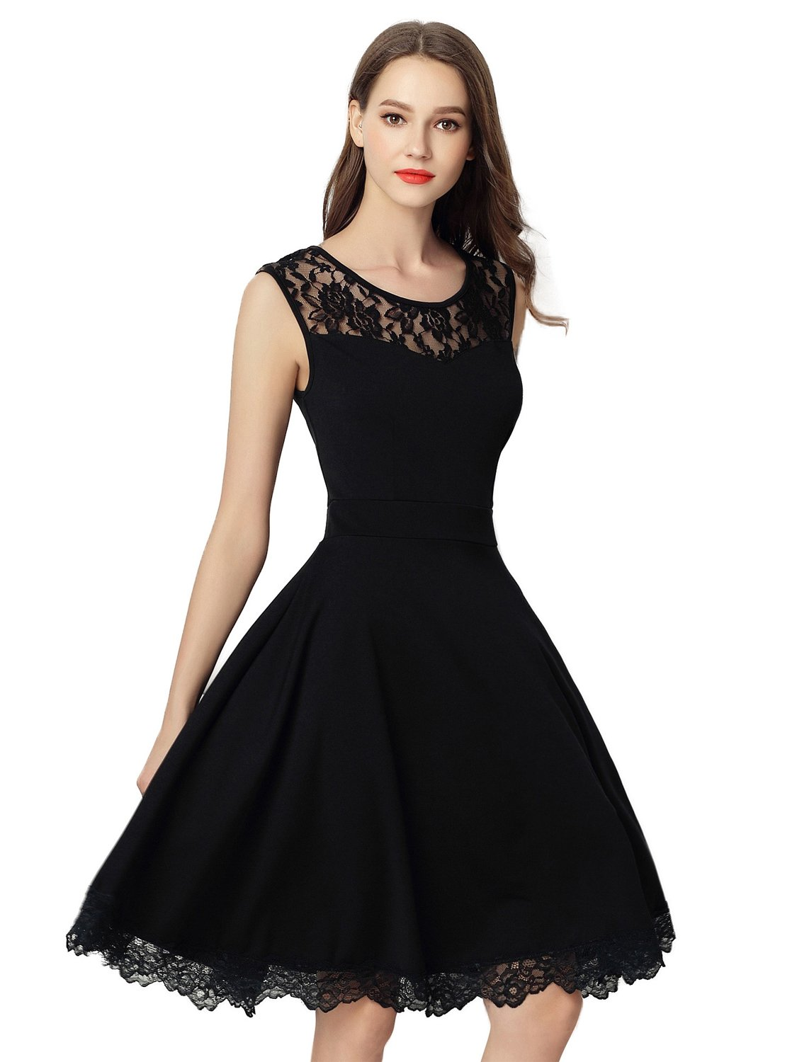 Dresms Women Sleeveless Lace Floral Elegant Cocktail Dress Crew Neck Knee Length (Black, Small) by Dresms (Image #3)