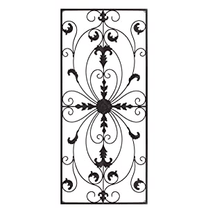 GB HOME COLLECTION gbHome GH-6778BRN Metal Wall Decor, Decorative Victorian Style Hanging Art, Steel Decor, Rectangular Design, 19.7 x 44 Inches, Espresso Brown
