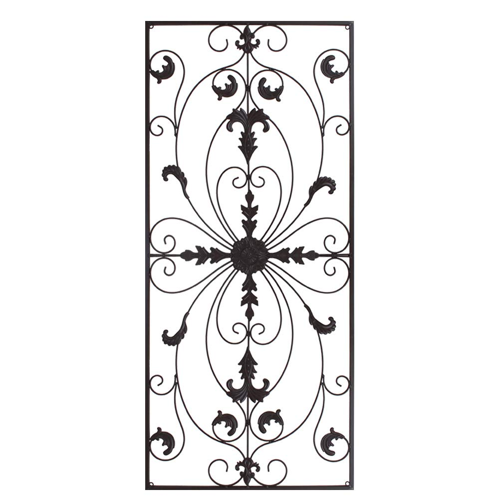 gbHome GH-6778BR Metal Wall Decor, Decorative Victorian Style Hanging Art, Steel Décor, Rectangular Design, 19.7 x 44 Inches, espresso Bronze