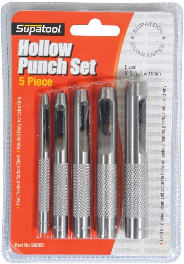 6PC HOLLOW PUNCH BELT//LEATHER//HOLE//GASKET//CARD//WAD MATERIAL CIRCLE CUTTING TOOL