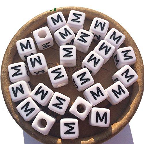 Alphabet Bead Block (EmmaGreen 100pcs Acrylic White Blocks Alphabet Letter M Cube Square 8mm ABC Symbols Number Charms Spacers Bead for bracelet)