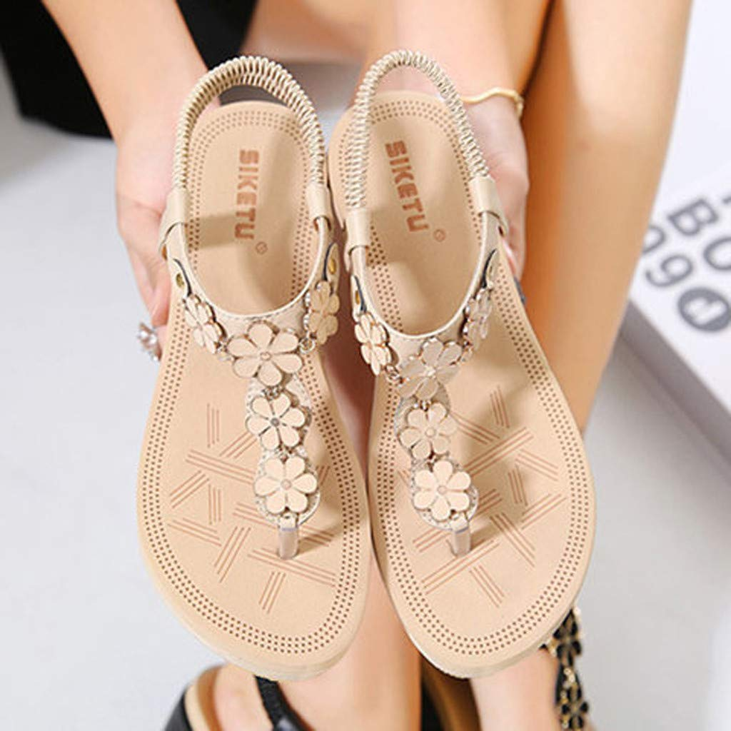Moonker Women 2019 Summer New Sandals Shoes,Women Clip Toe Comfortable Flip Flop Elastic Band Creepers Beach Sandals