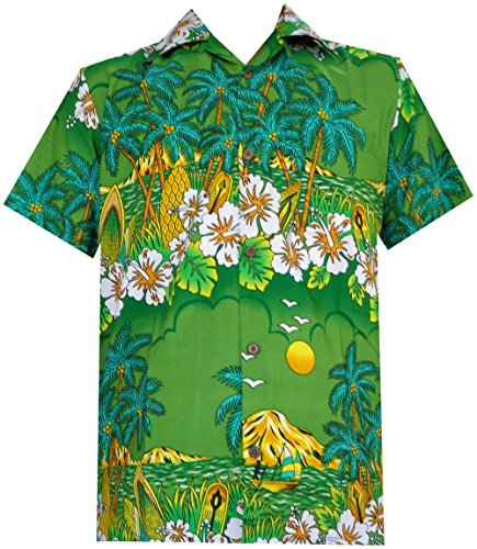 Hawaiian Shirts 44 Mens Floral Scenic Print Beach Aloha Party Camp Green S (Hawaiian Shirt Print Scenic)