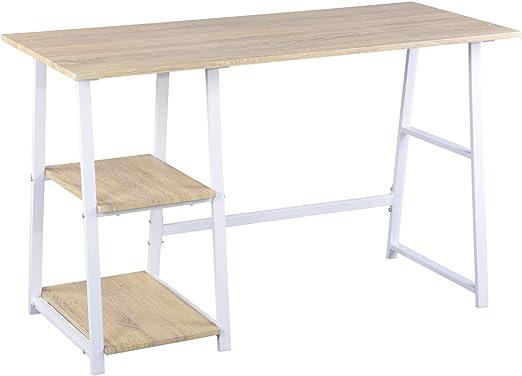 Furniture-r Francia Escritorio para Ordenador con 2 estantes, Mesa ...