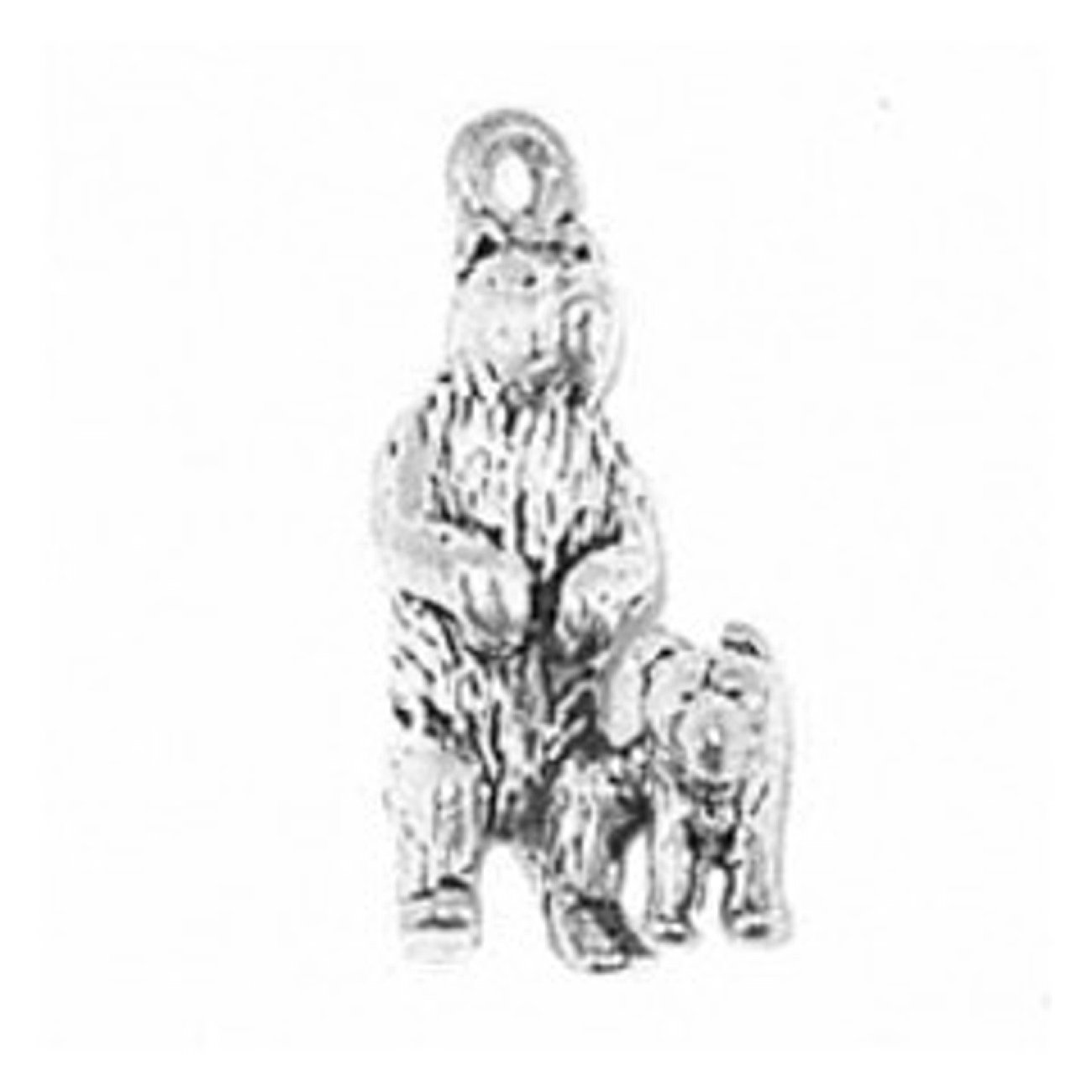 Sterling Silver Girls .8mm Box Chain 3D Standing Mother Bear And Cub Pendant Necklace