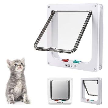 KALRI Cat Flap 4 Ways Locking Cat Door Pet Door Kit For Cats And Small Dogs