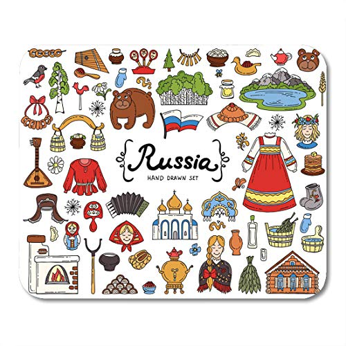 (Emvency Mouse Pads Black Harmonic Colored Doodles of Russia National Symbols Sketches Mouse Pad for notebooks, Desktop Computers mats 9.5