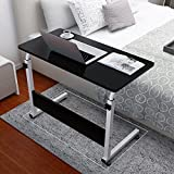[US STOCK] Transer Laptop Rolling Cart Standing Table Portable Height Adjustable Mobile Laptop Computer Stand Desk (Black)
