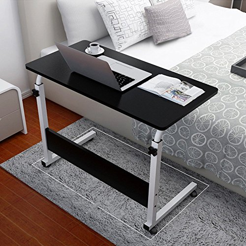 Allywit Folding Computer Desk 80cm50cm Computer Desk Cart, Height-Adjustable from 55cm to 73cm, Rotated 180 Degrees - Cart Purpose Adjustable Multi
