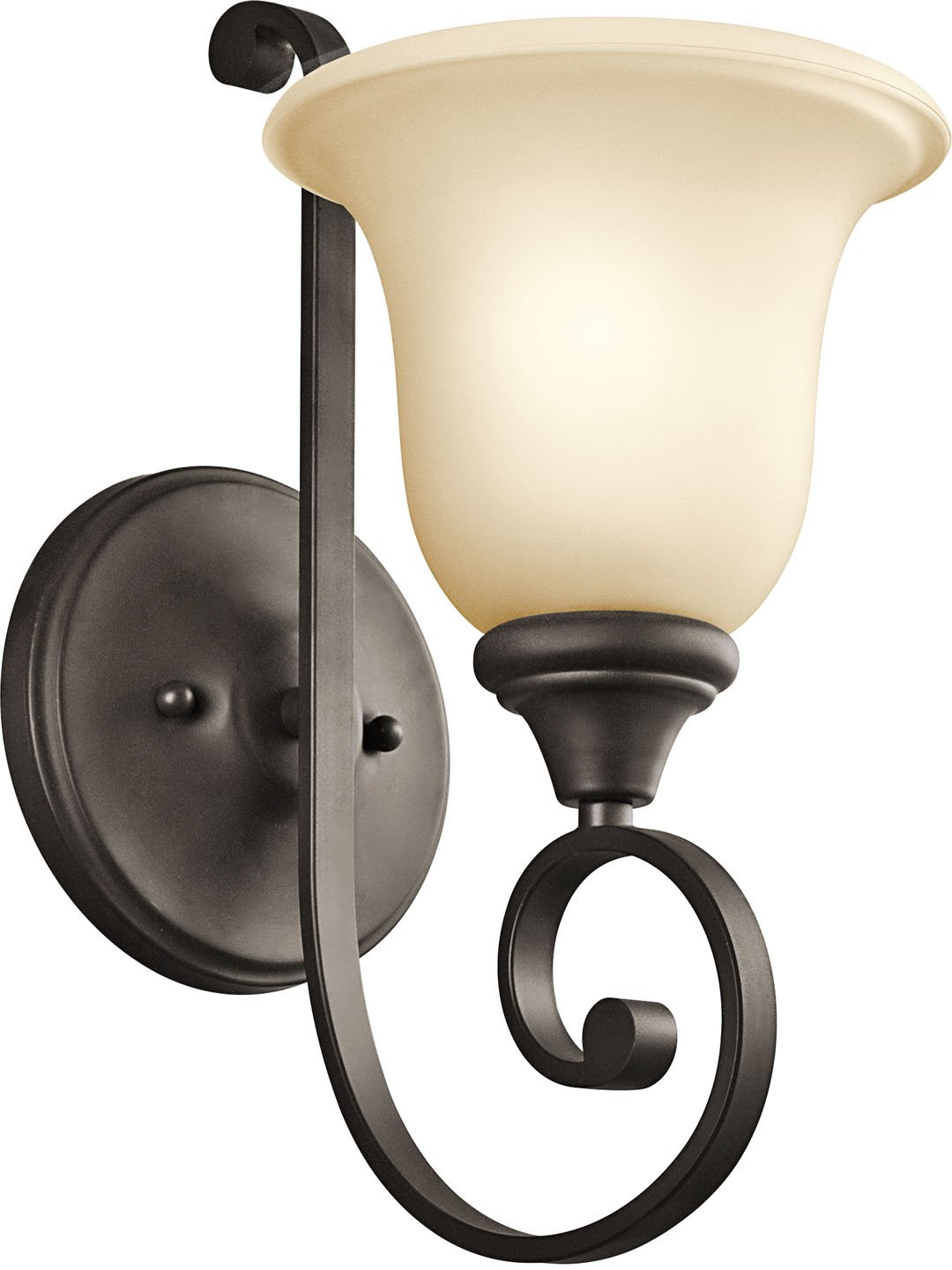 Kichler brushed nickel wall mt 1lt incandescent kichler brushed nickel - Kichler Lighting 43170ni Monroe 1 Light Wall Sconce Brushed Nickel Finish With Satin Etched Glass Bathroom Sconces Satin Nickel Amazon Com