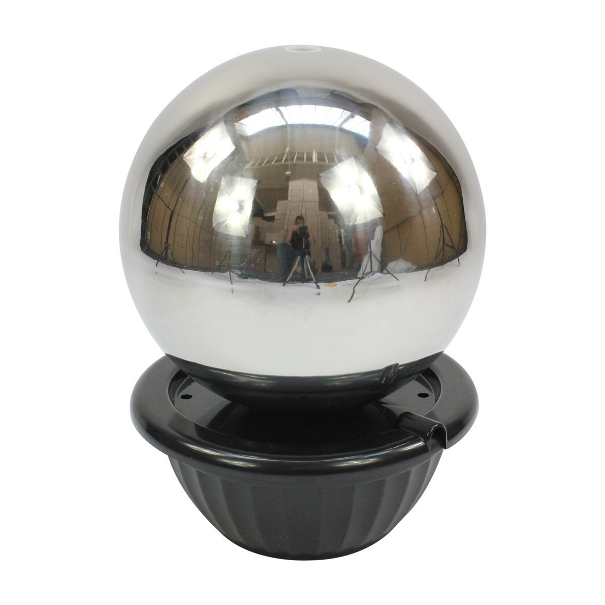 Direct Global Trading 40cm Sphere Stainless Steel Garden Water Feature with LED Lights