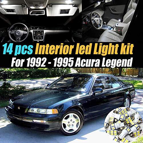 Interior Acura Legend - 14Pc Super White 6000k Car Interior LED Light Bulb Kit Pack Compatible for 1992-1995 Acura Legend