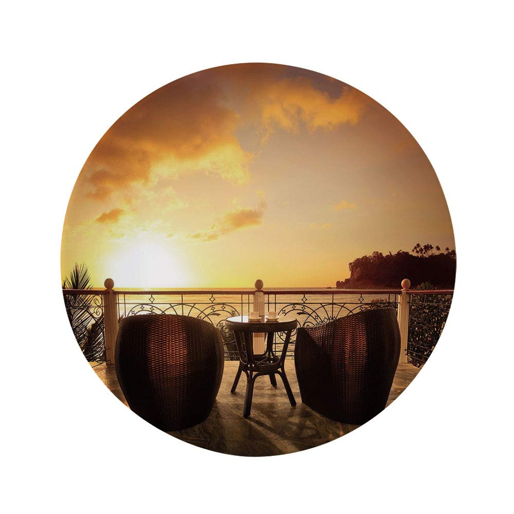 """Patio Decor 6"""" Dinner Plate,Sunset Lounge Holiday Relaxing Calm Scenery with Seascape Photo Ceramic Decorative Plates,Dining Table Tabletop Home Decor,Caramel Brown and Yellow"""