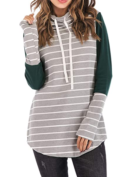 e3904f411 PALINDA Women's Cowl Neck Color Block Striped Sweatshirt Long Sleeve  Drawstring Pullover Tunic Tops (S