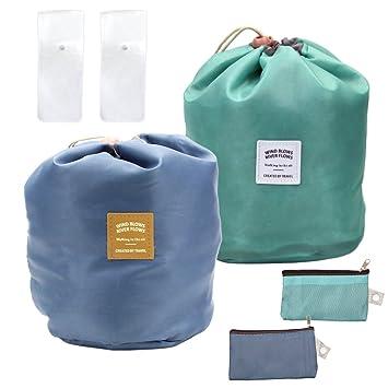 Amazon.com   M-Aimee Waterproof Cosmetic Bags Makeup Bag Travel Barrel  Cases Kit Organizer Bathroom Storage Carry Case Toiletry Bags  Multifunctional Bucket ... 2993d48ef97d5