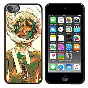 KLONGSHOP // Cubierta de piel con cierre a presión Shell trasero duro de goma Protección Caso - Burbuja Retrato Traje espacial Girl Art Curly - Apple iPod Touch 6 6th Touch6 //
