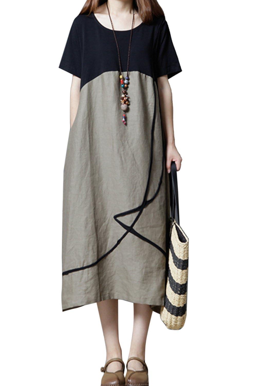 c9d972a3f2da1 Short Sleeve Linen Dresses   Saddha