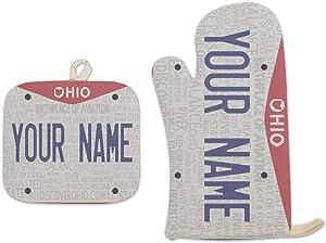Bleu Reign BRGiftShop Personalized Custom Name 2016 Ohio State License Plate Linen Oven Mitt and Potholder Set