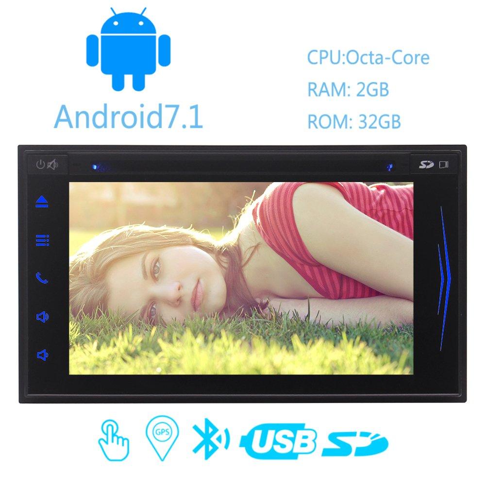 ダッシュカーDVDプレーヤーの自動ビデオヘッドユニットのサポートGPSナビゲーションFM AMのステアリングホイールのBluetooth OBD2 USBのSD無線LAN画面+タッチスクリーンでのAndroid 7.1のカーステレオ2ギガバイト32ギガバイトオクタコア B0761T86GP