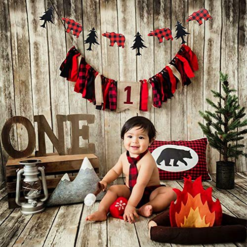 Banner Buffalo (JeVenis Set of 2 Lumberjack Theme Banner Garland Party Supplies Lumberjack Highchair Banner Timber Buffalo Plaid Baby Boy First Birthday Party Photo Backdrop for Kid Birthday Baby Shower Party Decoration)