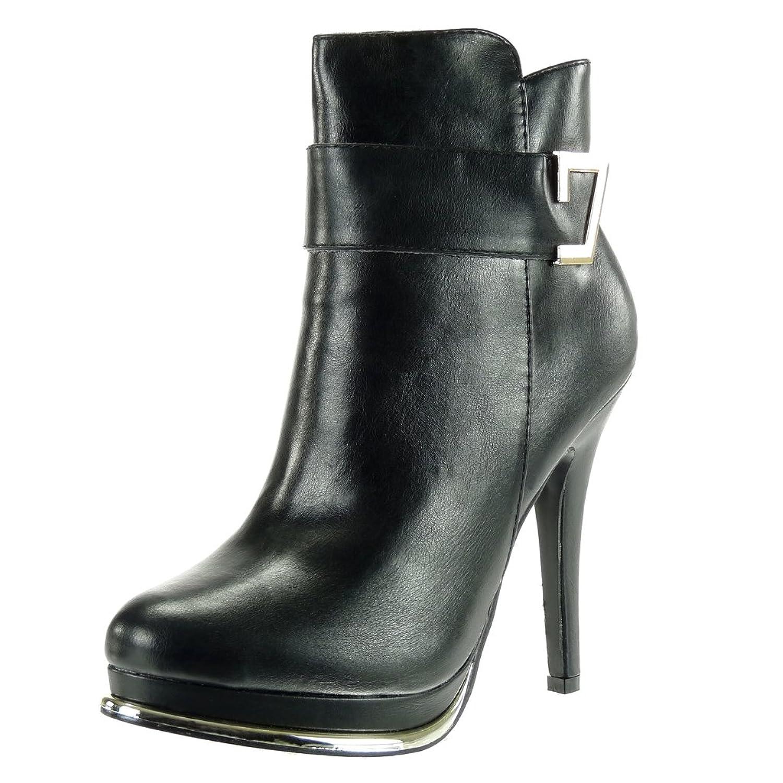 Angkorly Damen Schuhe Stiefeletten - Plateauschuhe - Sexy - Stiletto - Schleife - Golden Stiletto High Heel 12 cm Schwarz
