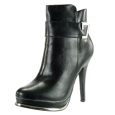 Angkorly Damen Schuhe Stiefeletten - Plateauschuhe - Sexy - Stiletto - Reißverschluss - Golden Stiletto High Heel 12.5 cm - Schwarz G200-1 T 40 Um3dslI