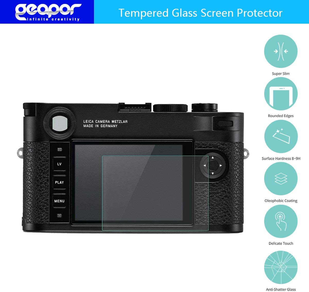 Geapor Tempered Glass Screen Protector HD-Clear Scratch Resistant for Leica M10-P//Leica Q2 Camera Screen Protector