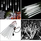 TurnRaise 30cm 10 Tubes 30 LEDs Falling Rain Lights, Led Meteor Shower Rain Lights Waterproof Tubes String for Xmas Decoration, Wedding, Party, Holiday (White)