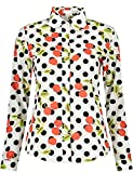DOKKIA Women's Tops Feminine Long Sleeve Polka Dotted Button Down Work Dress Blouses Shirts (XX-Large, White Cherry Polka Dot)