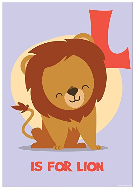 Laminated L Is For Lion Mini Poster 32x44cm
