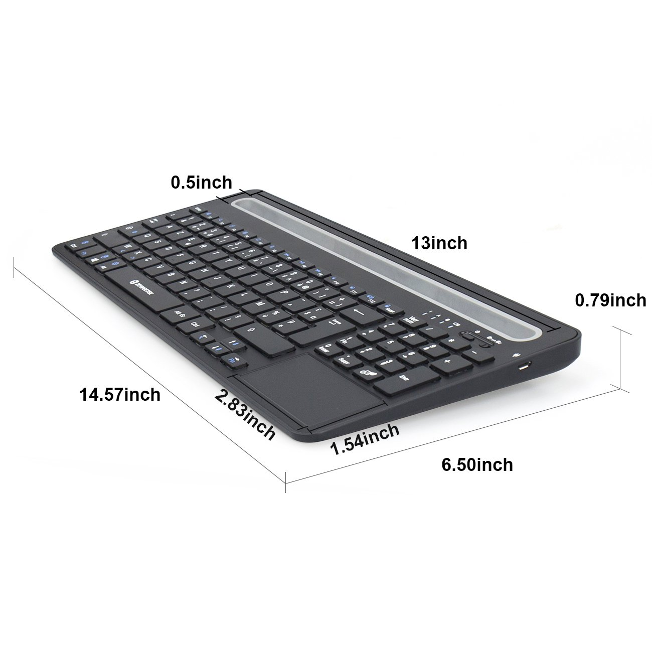 Zoweetek Rechargeable Wireless Bluetooth Keyboard with Touchpad and Numeric Keypad for Windows, Mac OS, Android, IOS, Tablet and Smart Phone