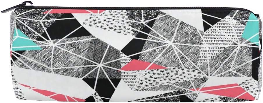Tenboya - Estuche para lápices, diseño geométrico, triángulos rosas y azules, impermeable, bolsa de almacenamiento para estudiantes y adultos: Amazon.es: Oficina y papelería