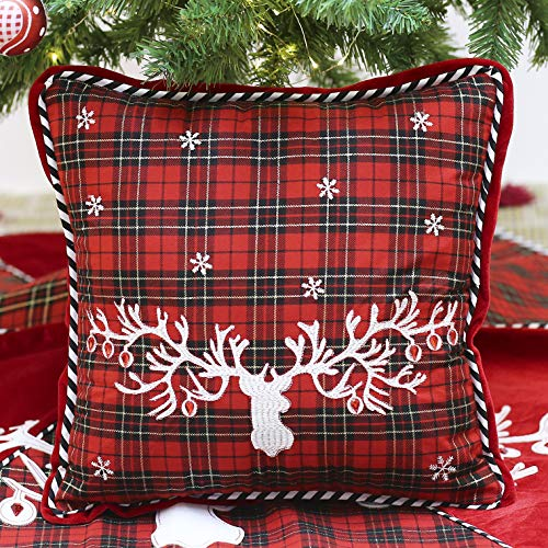 Valery Madelyn Trendy Red and Black Christmas Pillow Covers 16x16 with Tartan Plaid and Applique Reindeer, Themed with Tree Skirt (Not Included)